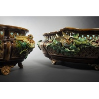 Pair of slip casting polychromatic earthenware planters