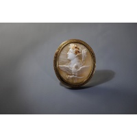 Cameo brooch (carved shell), gold. France, end of the 19th century.