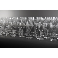 Set of engraved crystal glasses. France, late 19th - early 20th century.